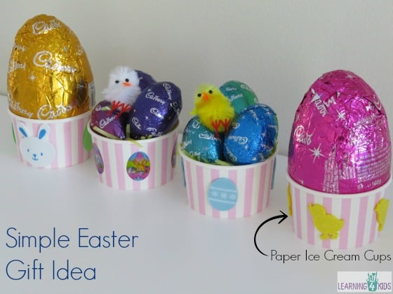 Simple easter gift ideas learning 4 kids simple easter gift idea using paper ice cream cups negle Choice Image