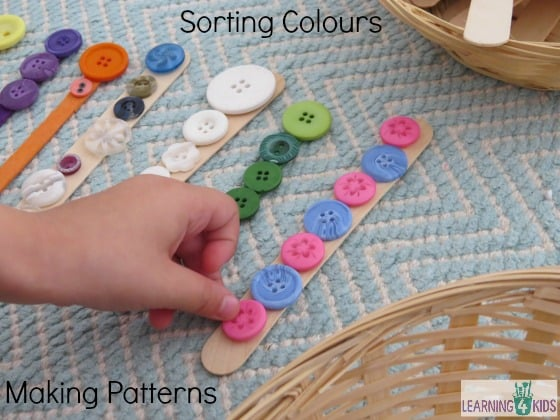 Sorting Colours and Making Patterns with buttons and pop sticks