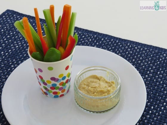Vegetable Sticks and Hommus snack ideas a for kids