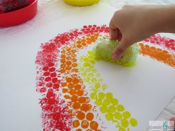 bubble wrapped blocks painting activity