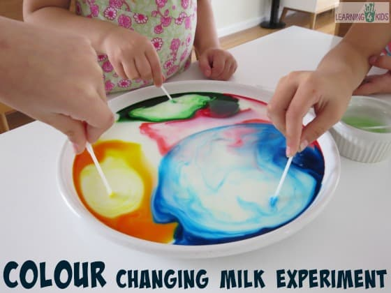 colour changing milk experiment science fun for kids by learning 4 kids
