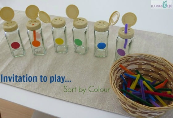 Invitation to play sorting by colour and fine motor by learning 4 kids