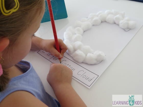 Learning to write using dotted letters by learning 4 kids