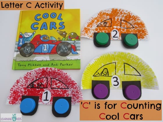 Letter C Activity - C is for Counting Cool Cars - Car Craft made out of paper plates