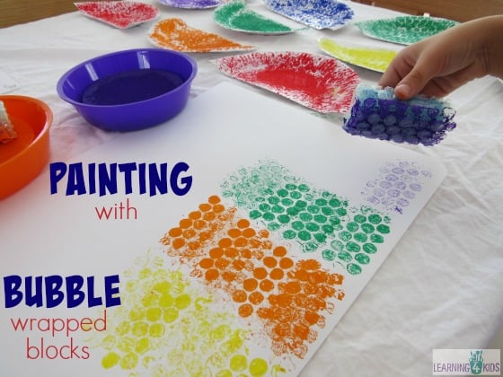 Painting Activity using bubble wrapped blocks by learning 4 kids