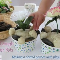 Play Dough Flower Pots- Making a potted garden with play dough