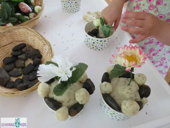 Play dough ideas for kids - Planting a potted garden with play dough