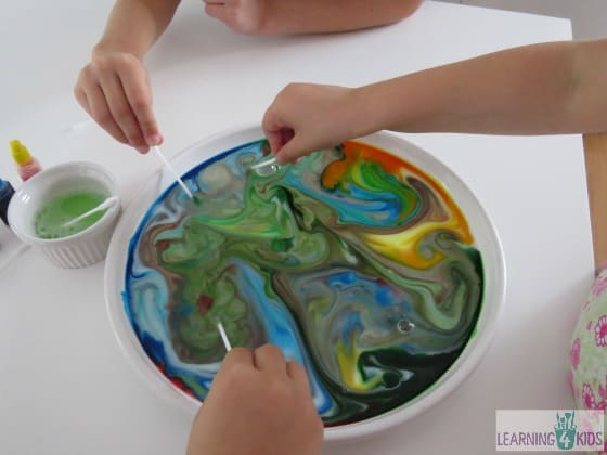 Science experiment - colour changing milk with dish soap
