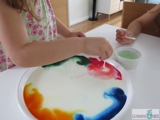 Science experiments for kids - colour changing milk experiment