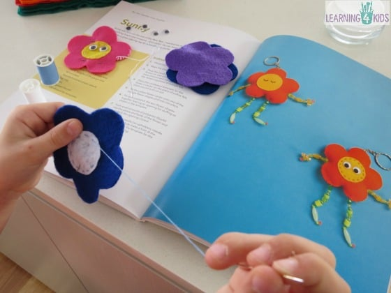 Sew Together Grow Together - sewing a flower key ring