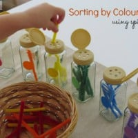 Sorting by colour using spice jars by learning 4 kids