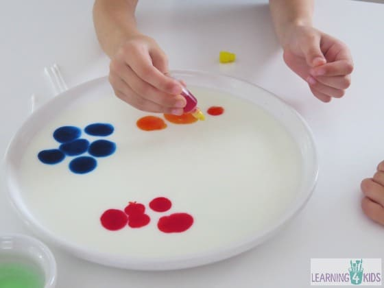 colour changing milk experiment - science activities for kids