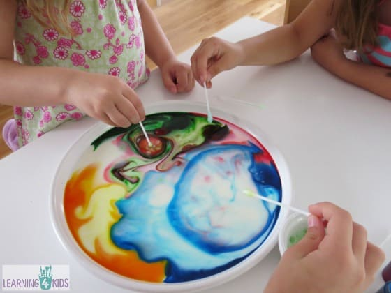milk and colours science experiment for kids using dish soap