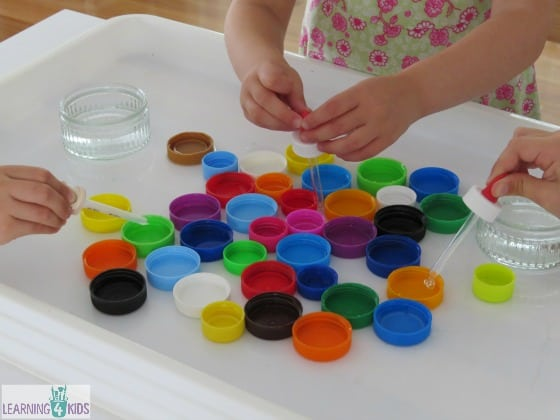 Activity ideas for children of a range of ages - water play with eye droppers