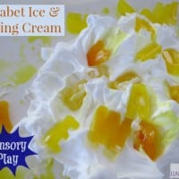 Alphabet Ice and Shaving Cream, sesnory play by learning 4 kids