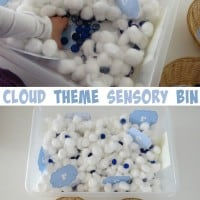 Cloud theme sensory bin- cotton wool clouds and blue gems for rain by learning 4 kids