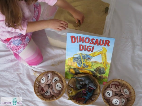D is for Dinosaur Dig - digging for homemade dinosaur fossils by learning 4 kids