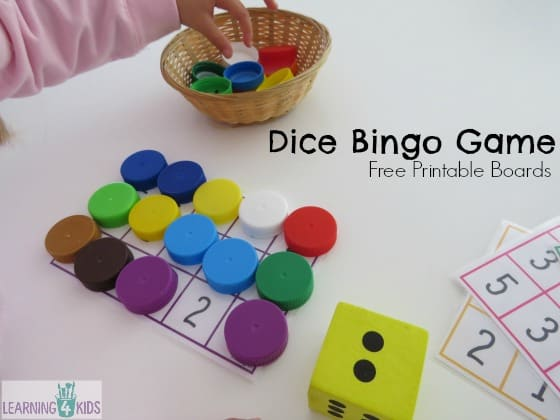 Dice Bingo Game for early years number recognition with free printable boards
