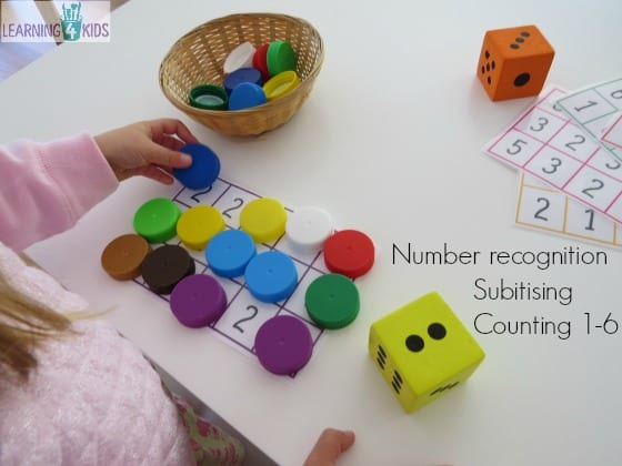 Number recognition, subitising and counting numbers 1-6 dice game for early years
