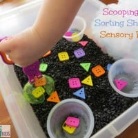 Scooping and Sorting Shapes Sensory Bin by learning 4 kids