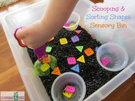 Sorting Shapes In Our Sensory Bin Learning 4 Kids