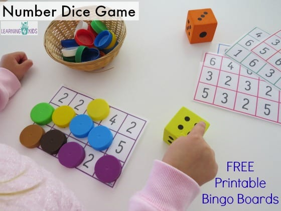 Subitising number and dice game - free printable bingo mats by learning 4 kids