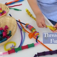 Threading Fun Activities for Kids using spools, buttons and pipe cleaners by learning 4 kids