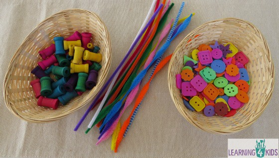 Threading activity for kids for fine motor development