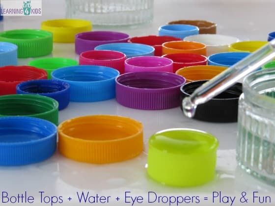 bottle tops + water + eye droppers = play and fun by learning 4 kids