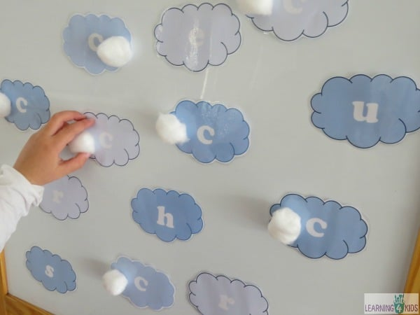 c is for cotton cloud and spotting the letter c on the easel