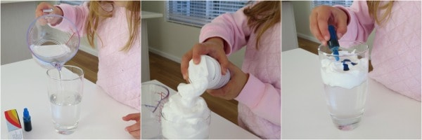 how to make a cloud in a jar experiment using shaving cream
