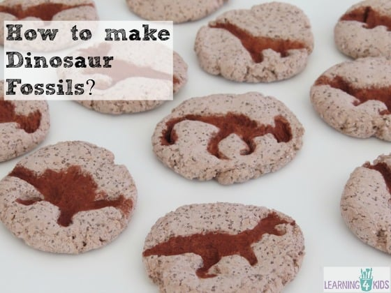 how to make dinosaur fossils, salt dough recipe by learning 4 kids