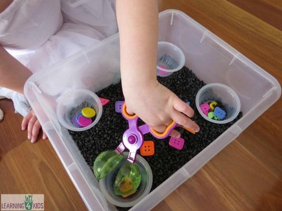 sorting shapes sensory bin learning 4 kids