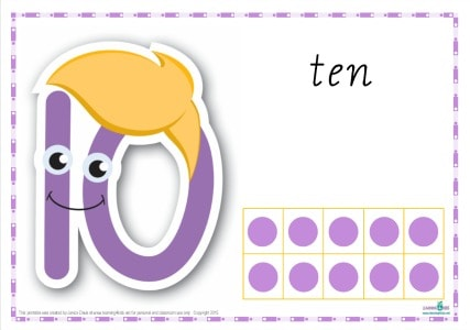 Printable Play dough Mat Number 10