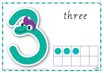 Printable Play dough Mat Number 3