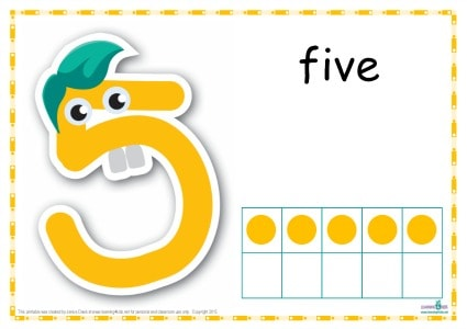 Number 5 Printable Play Dough Mat