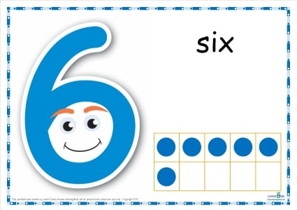 Number 6 Printable Play Dough Mat