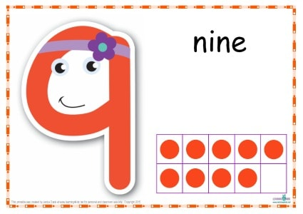 Number 9 Printable Play Dough Mat