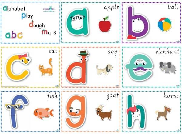 Alphabet Play Dough Mats Cursive a-h