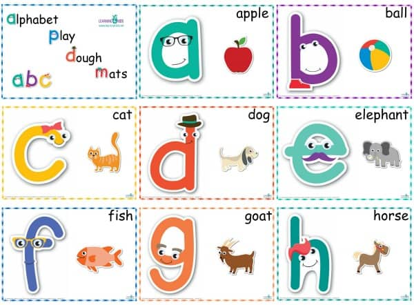 Alphabet Play Dough Mats a-h