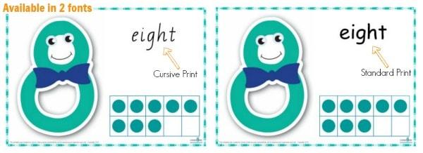 Number Play Dough Mats Cursive Print | Learning 4 Kids