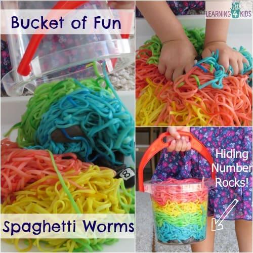 Bucket of Fun Spaghetti Worms for Sensory Play