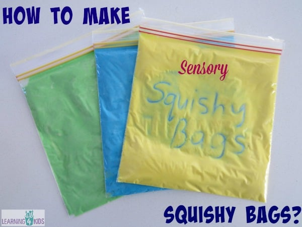 How to make sensory squishy bags for pre-writing activities.