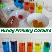 Learning about Mixing Primary colours Activity using melting coloured ice blocks