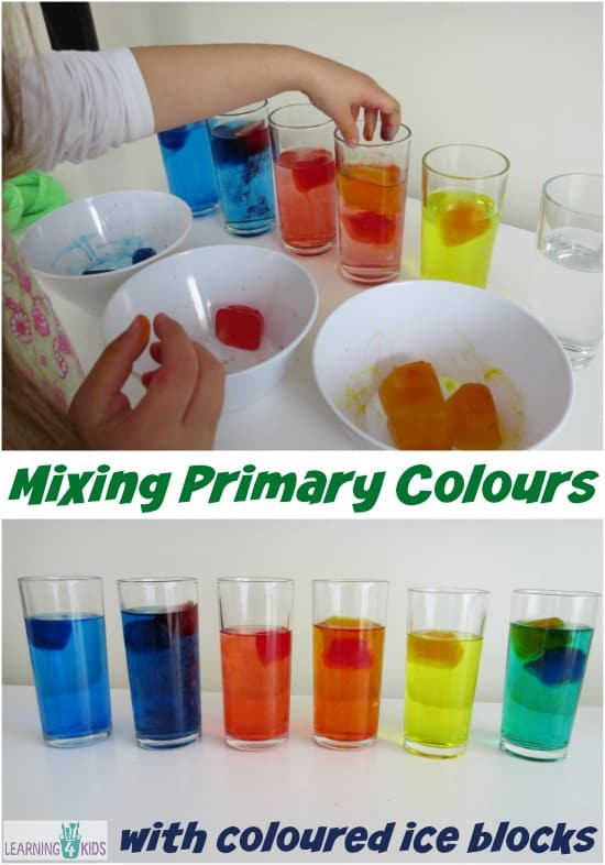learning about mixing primary colours activity using melting coloured ice blocks - Colour Activities For Kids