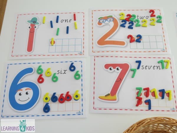 Learning numbers 0-9 Number sort activity using a tens frame