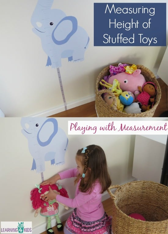 Measruing Height of Stuffed Toys - playing with measurment