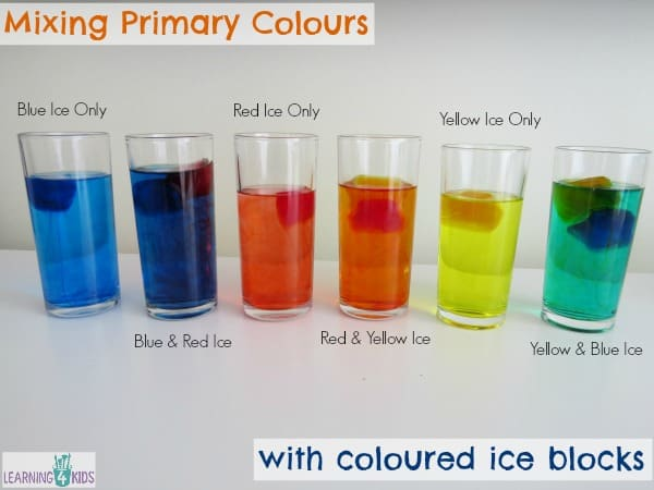Mixing primary colours with coloured ice blocks