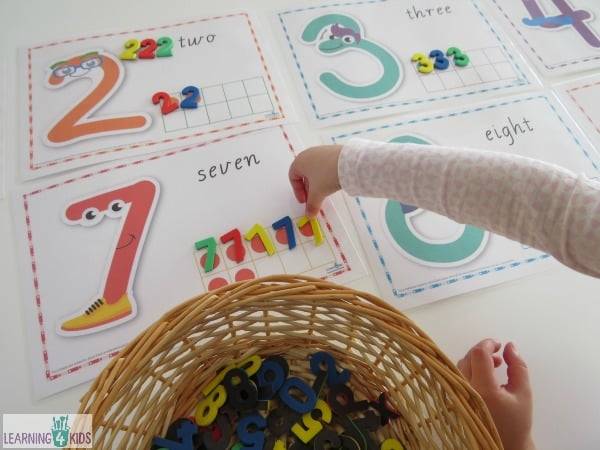 Number sort activity with tens frame