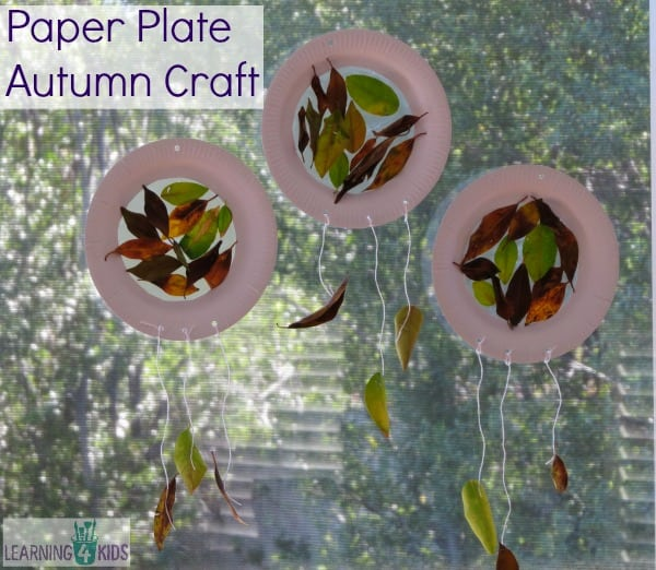 Paper Plate Autumn craft - much like a sun catcher or dream catcher